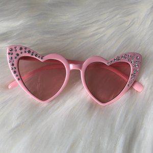 PINK GIRLS RHINESTONE HEART SUNGLASSES